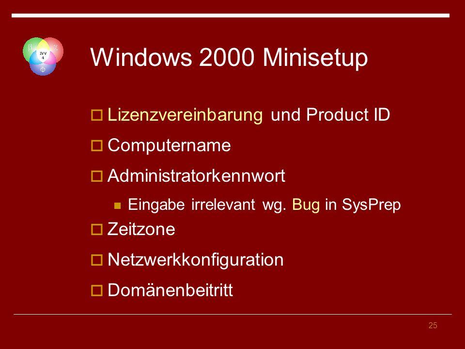 25 Windows 2000 Minisetup Lizenzvereinbarung und Product ID Computername Administratorkennwort Eingabe irrelevant wg.