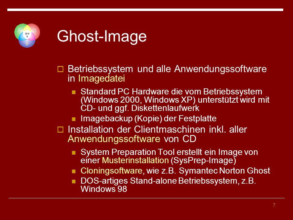 7 Ghost-Image Betriebssystem und alle Anwendungssoftware in Imagedatei Standard PC Hardware die vom Betriebssystem (Windows 2000, Windows XP) unterstützt wird mit CD- und ggf.