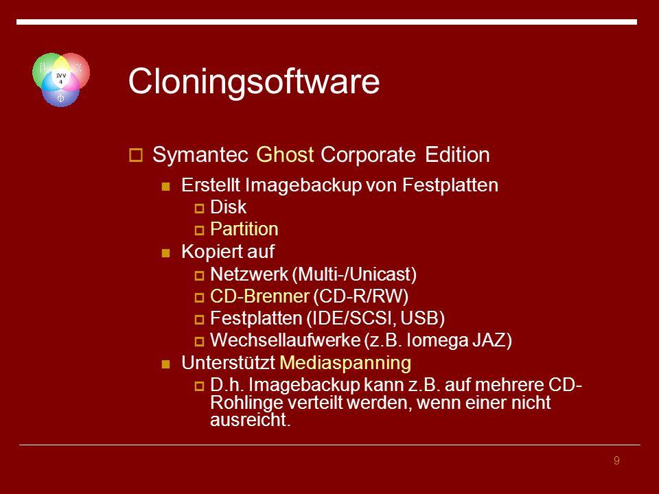 9 Cloningsoftware Symantec Ghost Corporate Edition Erstellt Imagebackup von Festplatten Disk Partition Kopiert auf Netzwerk (Multi-/Unicast) CD-Brenner (CD-R/RW) Festplatten (IDE/SCSI, USB) Wechsellaufwerke (z.B.