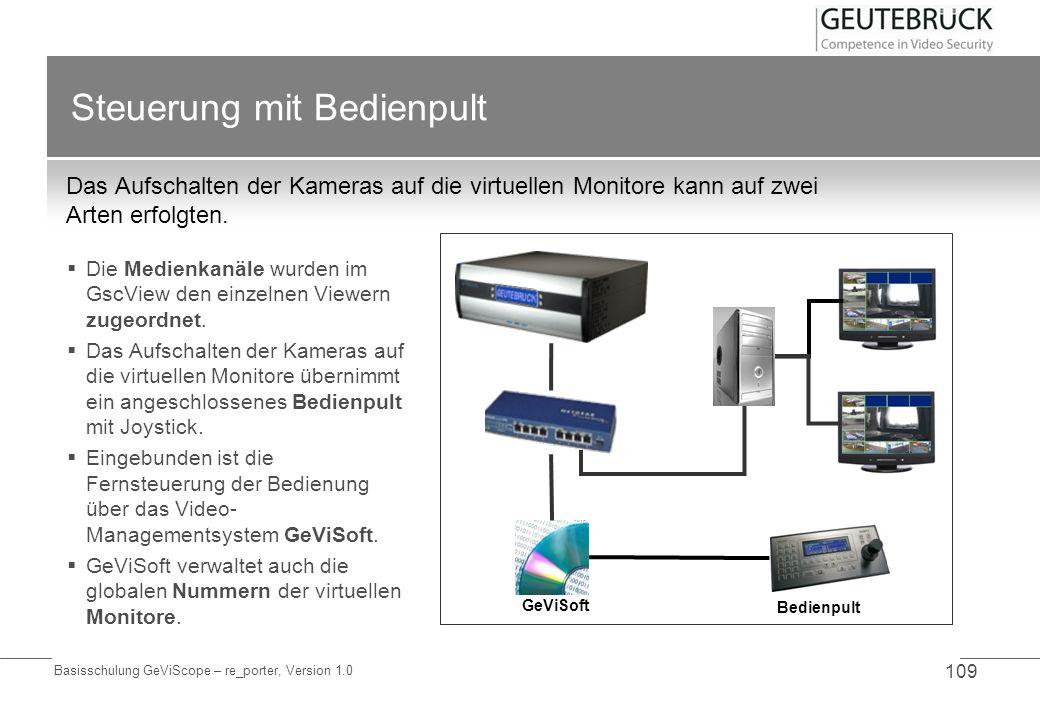 Basisschulung GeViScope – re_porter, Version 1.0 109 Steuerung mit Bedienpult Das Aufschalten der Kameras auf die virtuellen Monitore kann auf zwei Ar