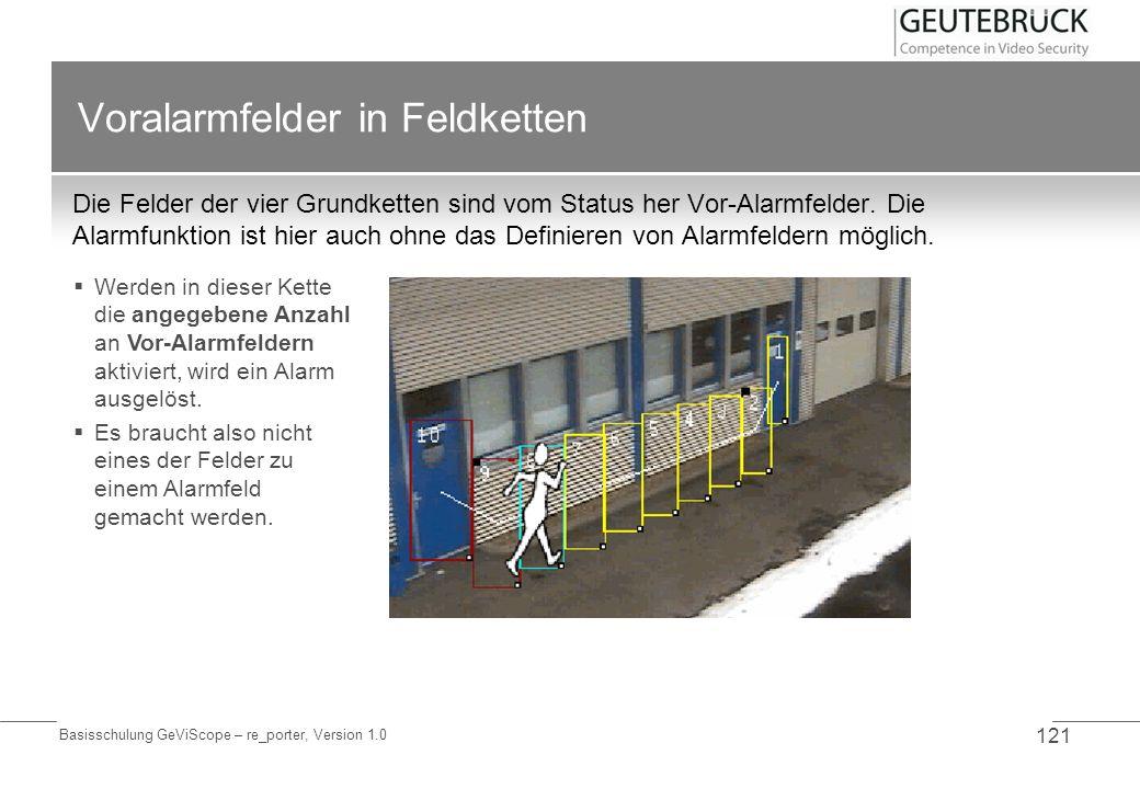 Basisschulung GeViScope – re_porter, Version 1.0 121 Voralarmfelder in Feldketten Die Felder der vier Grundketten sind vom Status her Vor-Alarmfelder.
