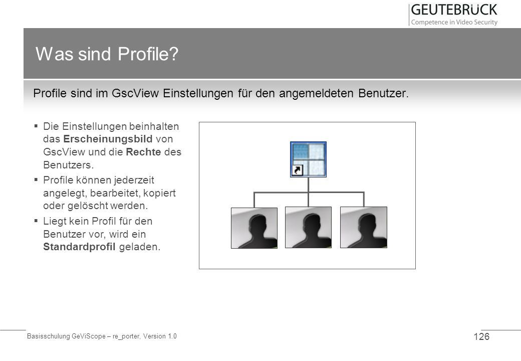 Basisschulung GeViScope – re_porter, Version 1.0 126 Was sind Profile? Profile sind im GscView Einstellungen für den angemeldeten Benutzer. Die Einste