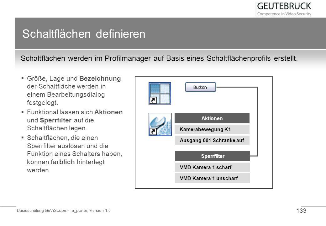 Basisschulung GeViScope – re_porter, Version 1.0 133 Schaltflächen definieren Schaltflächen werden im Profilmanager auf Basis eines Schaltflächenprofi