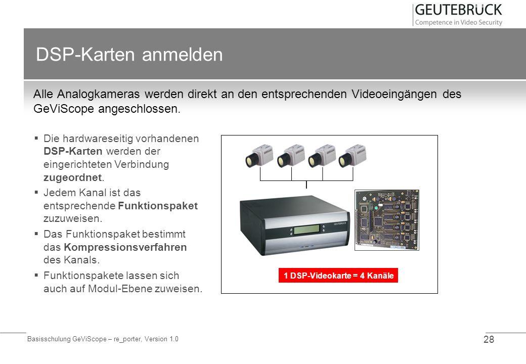 Basisschulung GeViScope – re_porter, Version 1.0 28 DSP-Karten anmelden Alle Analogkameras werden direkt an den entsprechenden Videoeingängen des GeVi