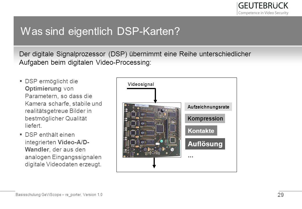 Basisschulung GeViScope – re_porter, Version 1.0 29 Was sind eigentlich DSP-Karten? Der digitale Signalprozessor (DSP) übernimmt eine Reihe unterschie