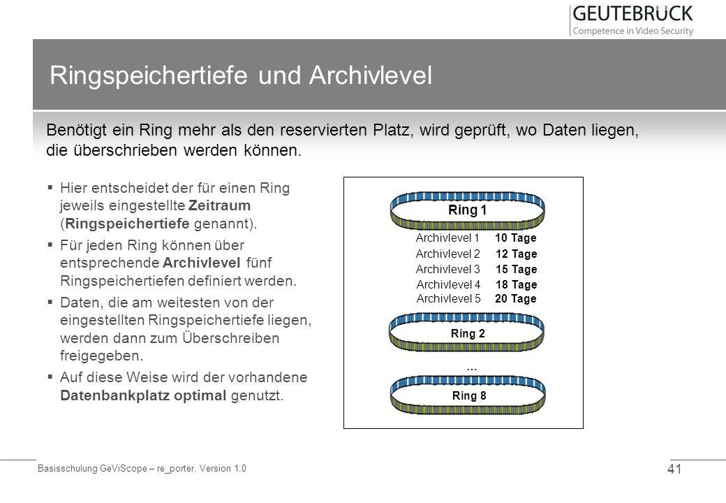 Basisschulung GeViScope – re_porter, Version 1.0 41 … Ring 2 Ringspeichertiefe und Archivlevel Benötigt ein Ring mehr als den reservierten Platz, wird
