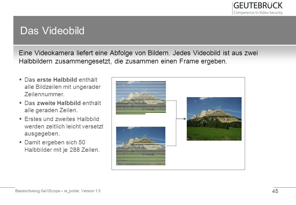 Basisschulung GeViScope – re_porter, Version 1.0 45 Das Videobild Eine Videokamera liefert eine Abfolge von Bildern. Jedes Videobild ist aus zwei Halb