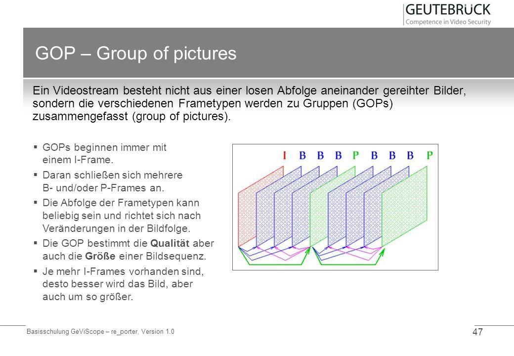 Basisschulung GeViScope – re_porter, Version 1.0 47 GOP – Group of pictures Ein Videostream besteht nicht aus einer losen Abfolge aneinander gereihter