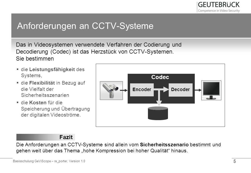 Basisschulung GeViScope – re_porter, Version 1.0 5 Anforderungen an CCTV-Systeme Das in Videosystemen verwendete Verfahren der Codierung und Decodieru