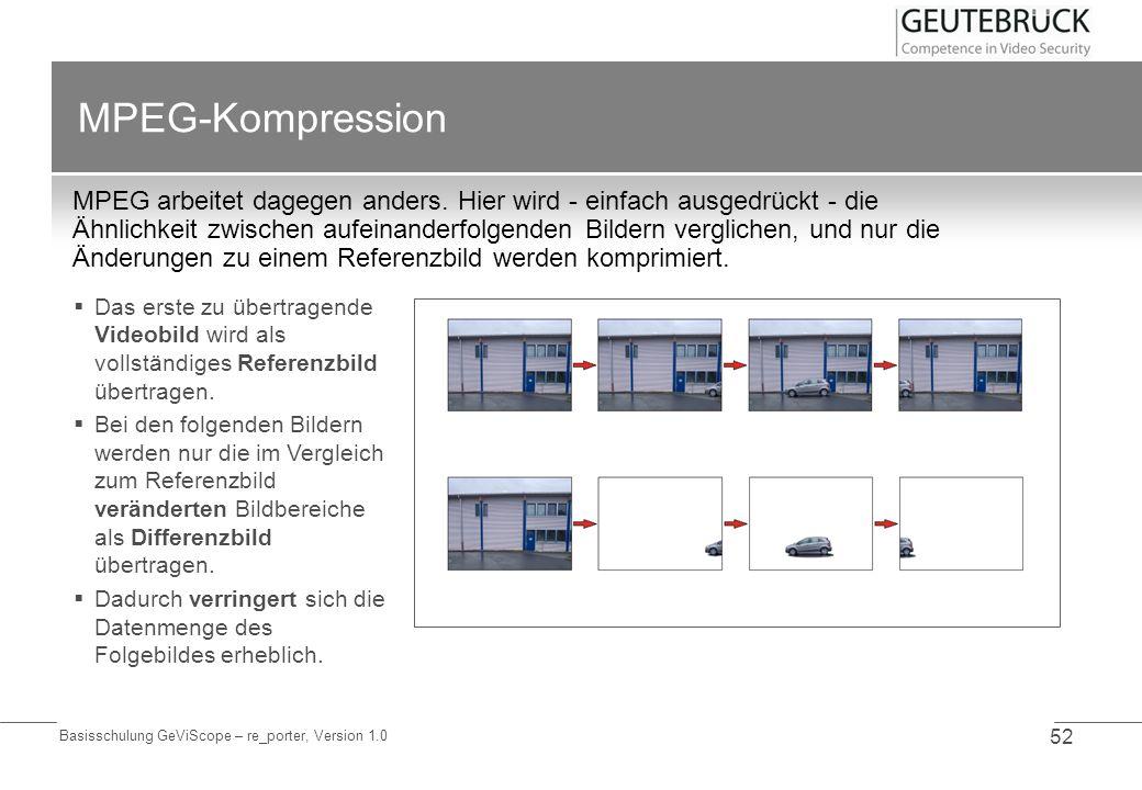 Basisschulung GeViScope – re_porter, Version 1.0 52 MPEG-Kompression MPEG arbeitet dagegen anders. Hier wird - einfach ausgedrückt - die Ähnlichkeit z
