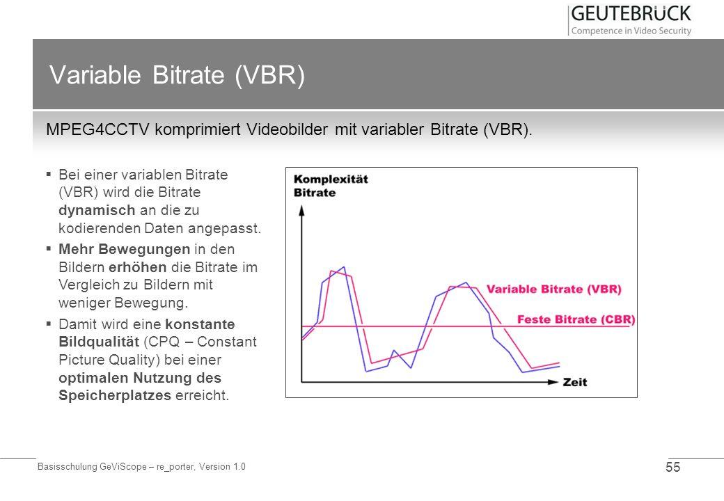 Basisschulung GeViScope – re_porter, Version 1.0 55 Variable Bitrate (VBR) MPEG4CCTV komprimiert Videobilder mit variabler Bitrate (VBR). Bei einer va