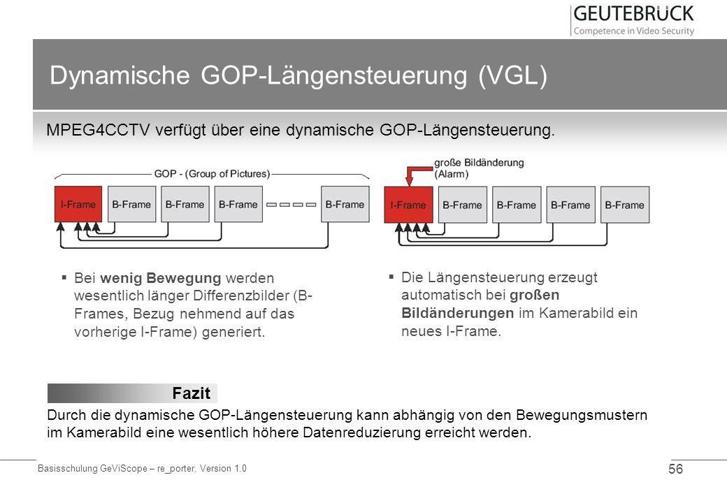 Basisschulung GeViScope – re_porter, Version 1.0 56 Dynamische GOP-Längensteuerung (VGL) MPEG4CCTV verfügt über eine dynamische GOP-Längensteuerung. D