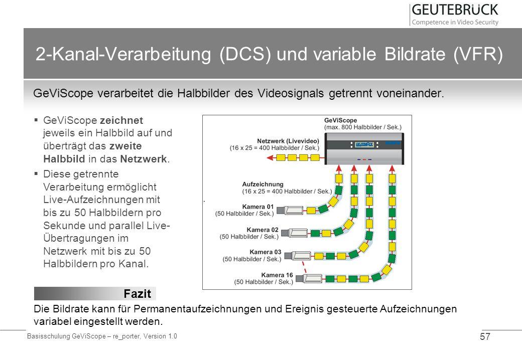 Basisschulung GeViScope – re_porter, Version 1.0 57 2-Kanal-Verarbeitung (DCS) und variable Bildrate (VFR) GeViScope verarbeitet die Halbbilder des Vi