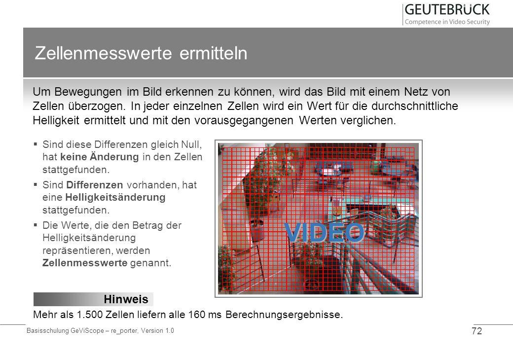 Basisschulung GeViScope – re_porter, Version 1.0 72 Zellenmesswerte ermitteln Um Bewegungen im Bild erkennen zu können, wird das Bild mit einem Netz v