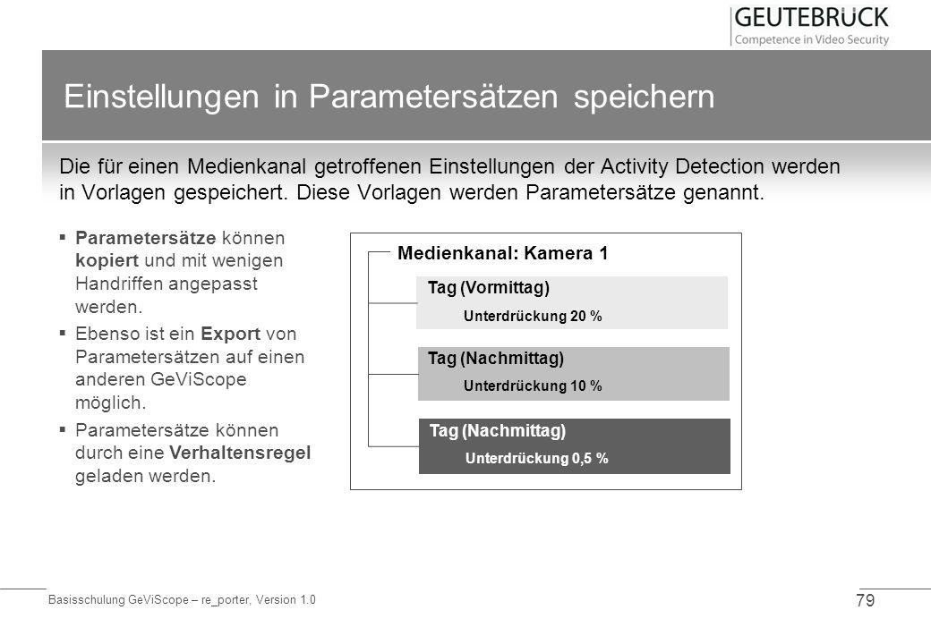 Basisschulung GeViScope – re_porter, Version 1.0 79 Einstellungen in Parametersätzen speichern Die für einen Medienkanal getroffenen Einstellungen der
