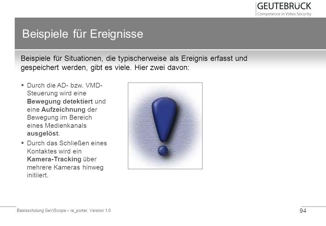 Basisschulung GeViScope – re_porter, Version 1.0 94 Beispiele für Ereignisse Beispiele für Situationen, die typischerweise als Ereignis erfasst und ge
