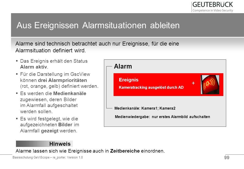 Basisschulung GeViScope – re_porter, Version 1.0 99 Aus Ereignissen Alarmsituationen ableiten Alarme sind technisch betrachtet auch nur Ereignisse, fü
