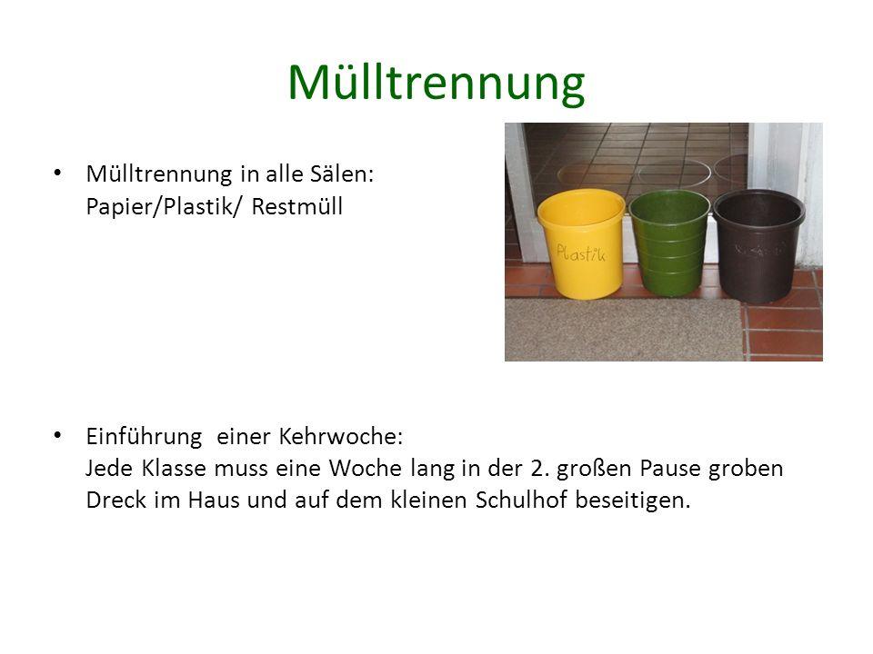Mülltrennung Mülltrennung in alle Sälen: Papier/Plastik/ Restmüll Einführung einer Kehrwoche: Jede Klasse muss eine Woche lang in der 2.