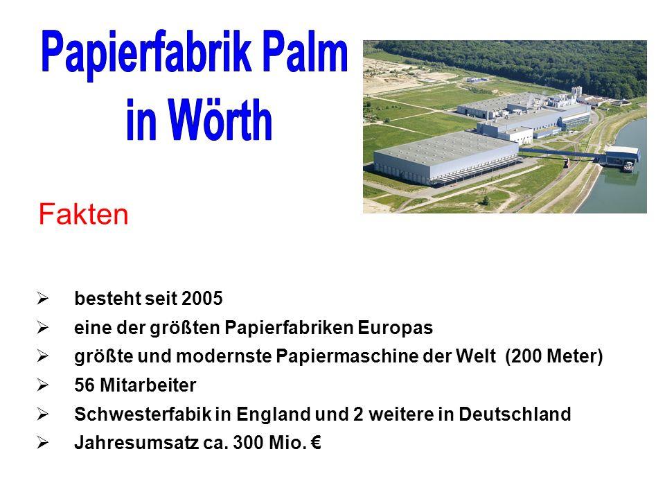 besteht seit 2005 eine der größten Papierfabriken Europas größte und modernste Papiermaschine der Welt (200 Meter) 56 Mitarbeiter Schwesterfabik in England und 2 weitere in Deutschland Jahresumsatz ca.