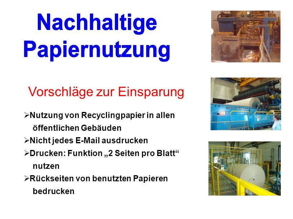 Nutzung von Recyclingpapier in allen öffentlichen Gebäuden Nicht jedes E-Mail ausdrucken Drucken: Funktion 2 Seiten pro Blatt nutzen Rückseiten von benutzten Papieren bedrucken Vorschläge zur Einsparung