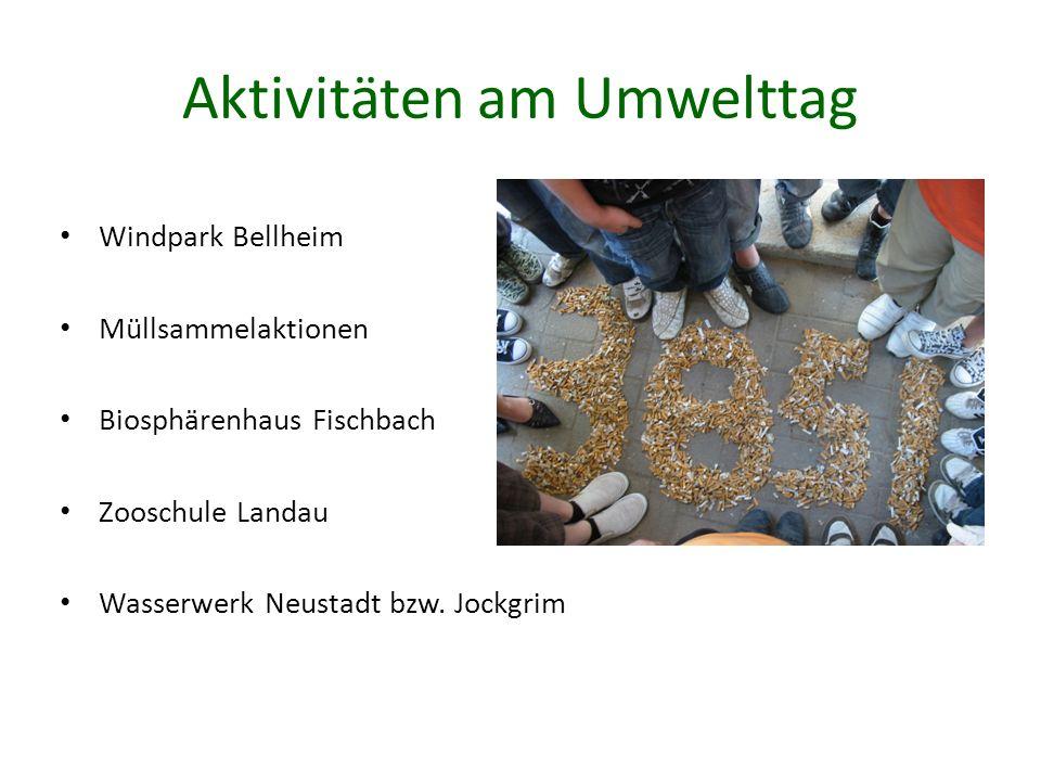 Aktivitäten am Umwelttag Windpark Bellheim Müllsammelaktionen Biosphärenhaus Fischbach Zooschule Landau Wasserwerk Neustadt bzw. Jockgrim