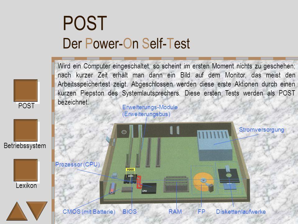Lexikon POST Betriebssystem Einführung Bevor man einen Computer einschält, ist er lediglich ein toter Haufen von Metallplatten, Kunststoff, Schaltkreisen, Drähten und winzigen Halbleiterbauteilen.
