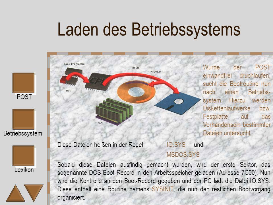 Lexikon POST Betriebssystem Laden des Betriebssystems Diese Dateien heißen in der RegelIO.SYSund MSDOS.SYS Sobald diese Dateien ausfindig gemacht wurden, wird der erste Sektor, das sogenannte DOS-Boot-Record in den Arbeitsspeicher geladen (Adresse 7C00).