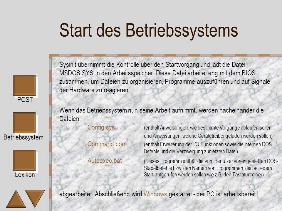 Lexikon POST Betriebssystem Start des Betriebssystems Sysinit übernimmt die Kontrolle über den Startvorgang und lädt die Datei MSDOS.SYS in den Arbeitsspeicher.