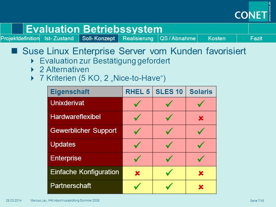 Seite 7/16 28.03.2014Marcus Ley, IHK Abschlussprüfung Sommer 2008 Evaluation Betriebssystem Suse Linux Enterprise Server vom Kunden favorisiert Evalua