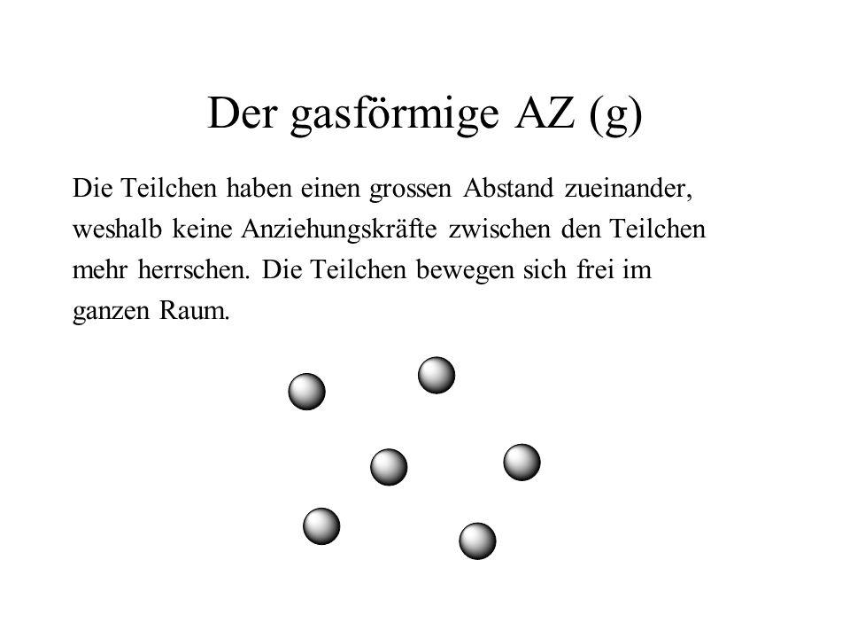 Der gasförmige AZ (g) Die Teilchen haben einen grossen Abstand zueinander, weshalb keine Anziehungskräfte zwischen den Teilchen mehr herrschen.