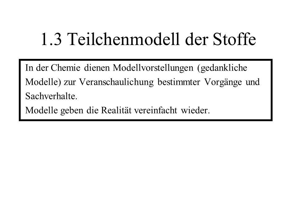 1.3 Teilchenmodell der Stoffe In der Chemie dienen Modellvorstellungen (gedankliche Modelle) zur Veranschaulichung bestimmter Vorgänge und Sachverhalt