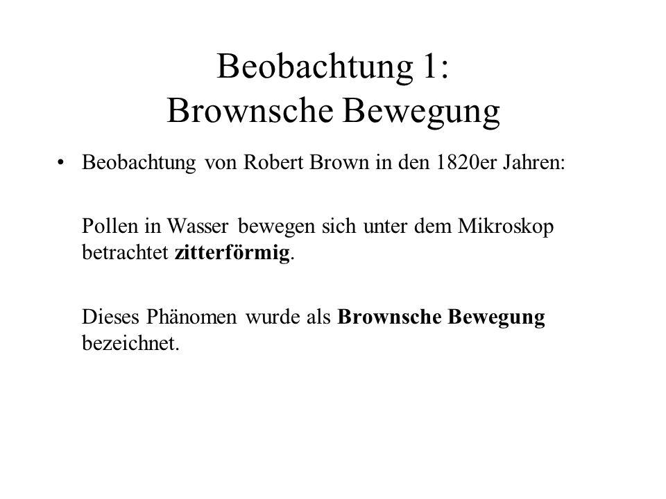 Beobachtung 1: Brownsche Bewegung Beobachtung von Robert Brown in den 1820er Jahren: Pollen in Wasser bewegen sich unter dem Mikroskop betrachtet zitterförmig.