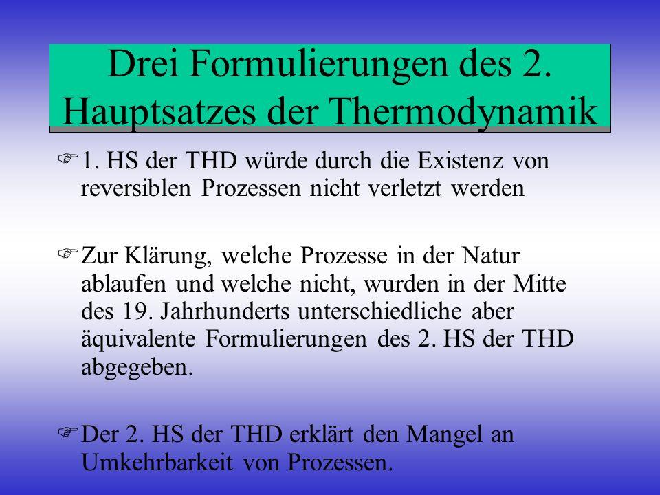 Drei Formulierungen des 2. Hauptsatzes der Thermodynamik 1. HS der THD würde durch die Existenz von reversiblen Prozessen nicht verletzt werden Zur Kl
