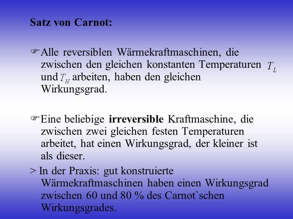 Satz von Carnot: Alle reversiblen Wärmekraftmaschinen, die zwischen den gleichen konstanten Temperaturen und arbeiten, haben den gleichen Wirkungsgrad