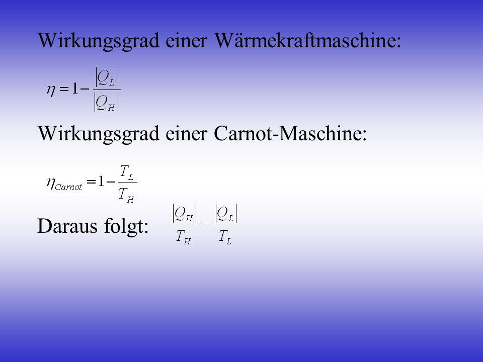 Wirkungsgrad einer Wärmekraftmaschine: Wirkungsgrad einer Carnot-Maschine: Daraus folgt: