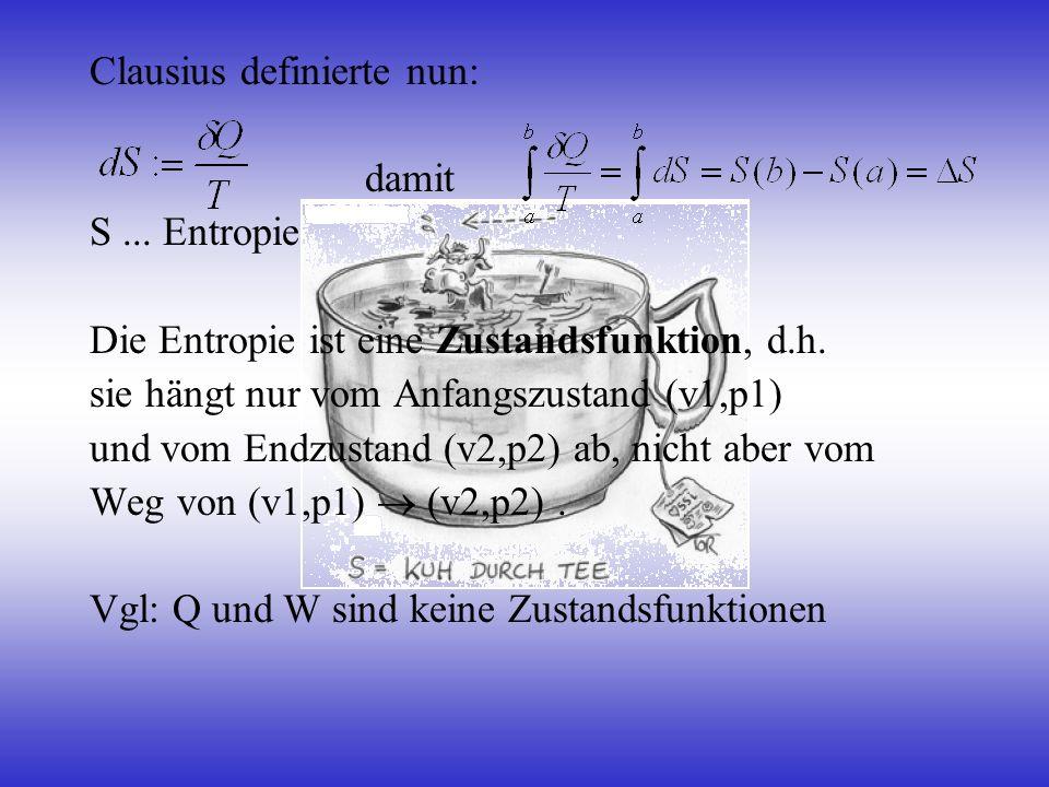 Clausius definierte nun: damit S... Entropie Die Entropie ist eine Zustandsfunktion, d.h. sie hängt nur vom Anfangszustand (v1,p1) und vom Endzustand