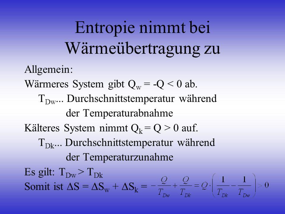 Entropie nimmt bei Wärmeübertragung zu Allgemein: Wärmeres System gibt Q w = -Q < 0 ab. T Dw... Durchschnittstemperatur während der Temperaturabnahme