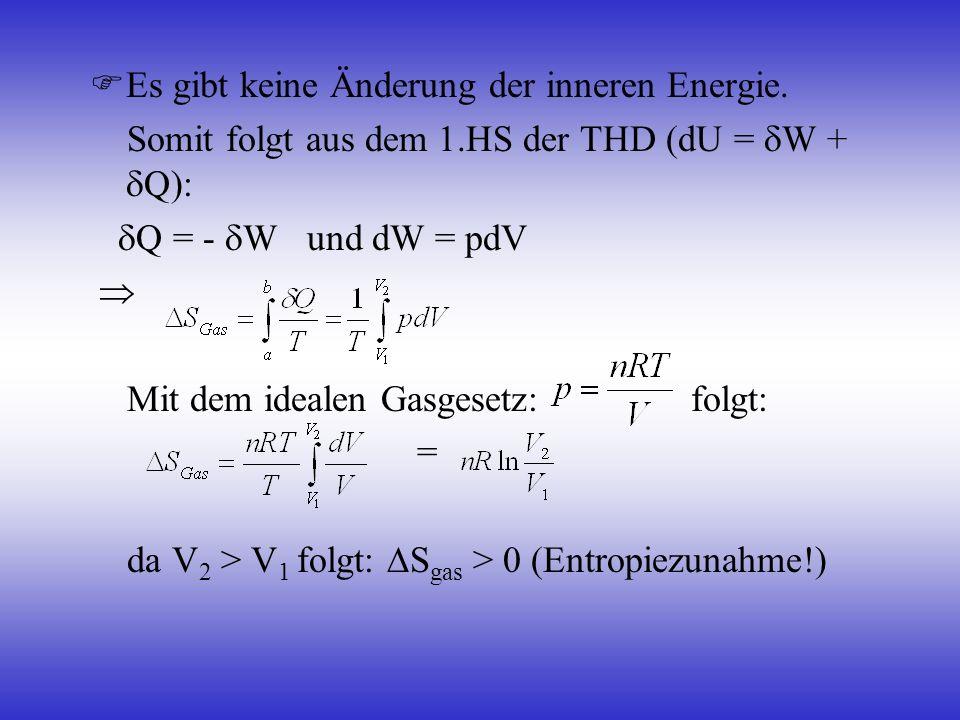 Es gibt keine Änderung der inneren Energie. Somit folgt aus dem 1.HS der THD (dU = W + Q): Q = - W und dW = pdV Mit dem idealen Gasgesetz: folgt: = da