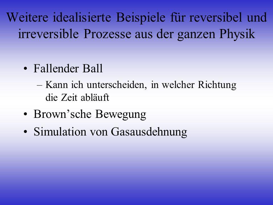Weitere idealisierte Beispiele für reversibel und irreversible Prozesse aus der ganzen Physik Fallender Ball –Kann ich unterscheiden, in welcher Richt