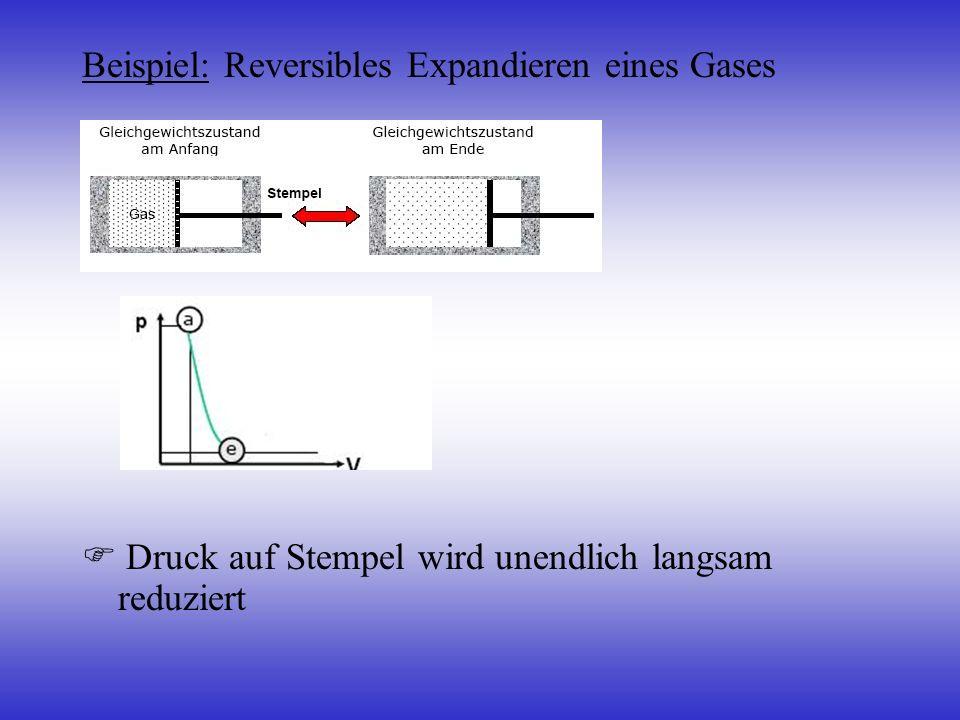 Beispiel: Reversibles Expandieren eines Gases Druck auf Stempel wird unendlich langsam reduziert