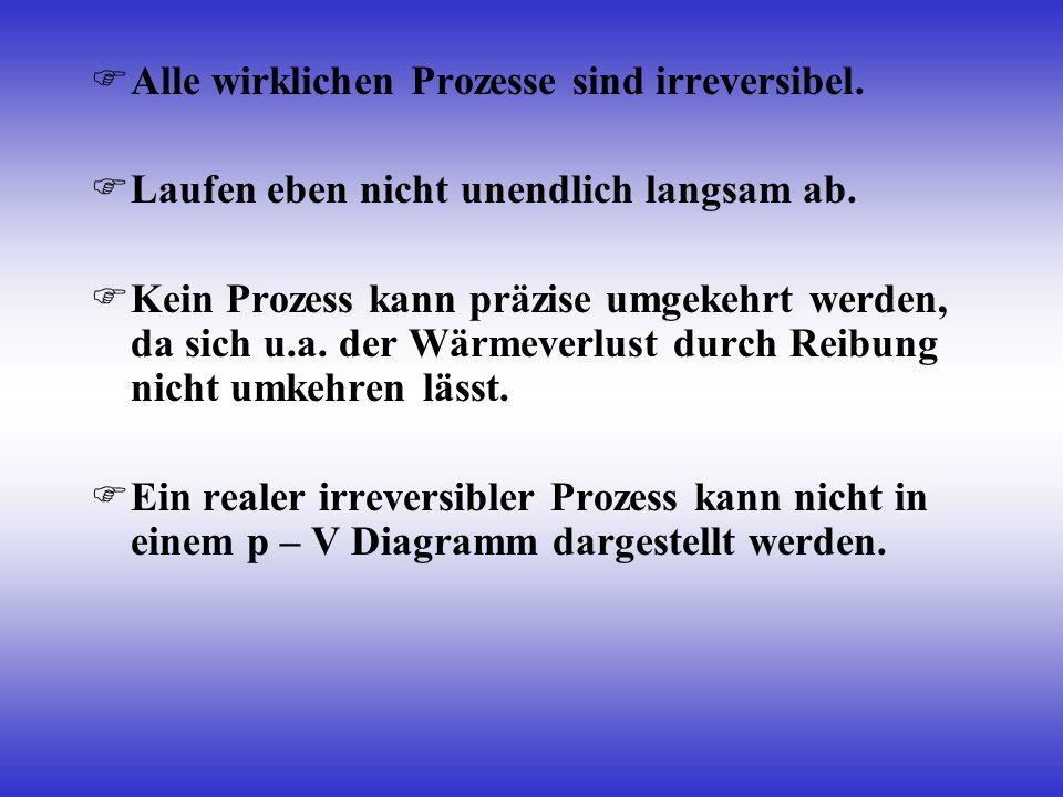 Alle wirklichen Prozesse sind irreversibel. Laufen eben nicht unendlich langsam ab. Kein Prozess kann präzise umgekehrt werden, da sich u.a. der Wärme
