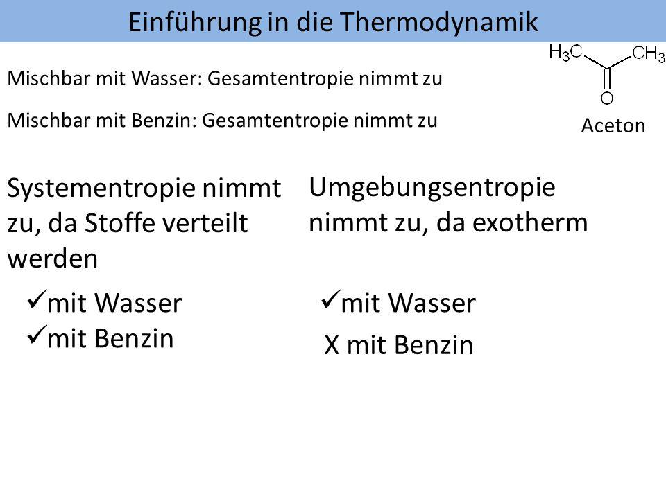 Einführung in die Thermodynamik Aceton Mischbar mit Benzin: Gesamtentropie nimmt zu Mischbar mit Wasser: Gesamtentropie nimmt zu Systementropie nimmt