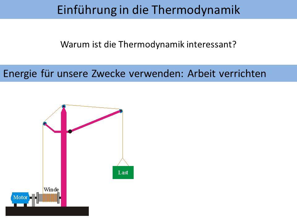 Einführung in die Thermodynamik Warum ist die Thermodynamik interessant? Energie für unsere Zwecke verwenden: Arbeit verrichten