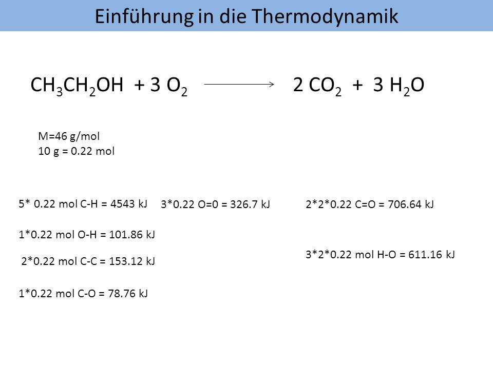 Einführung in die Thermodynamik CH 3 CH 2 OH + 3 O 2 2 CO 2 + 3 H 2 O M=46 g/mol 10 g = 0.22 mol 5* 0.22 mol C-H = 4543 kJ 1*0.22 mol O-H = 101.86 kJ