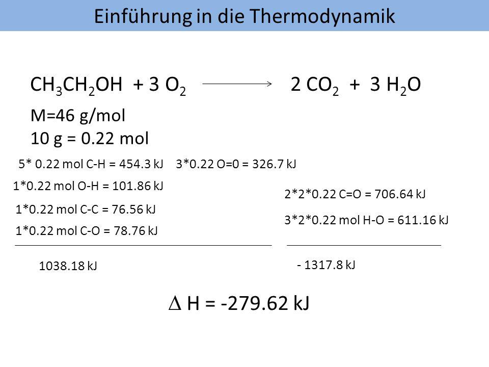 Einführung in die Thermodynamik CH 3 CH 2 OH + 3 O 2 2 CO 2 + 3 H 2 O M=46 g/mol 10 g = 0.22 mol 5* 0.22 mol C-H = 454.3 kJ 1*0.22 mol O-H = 101.86 kJ