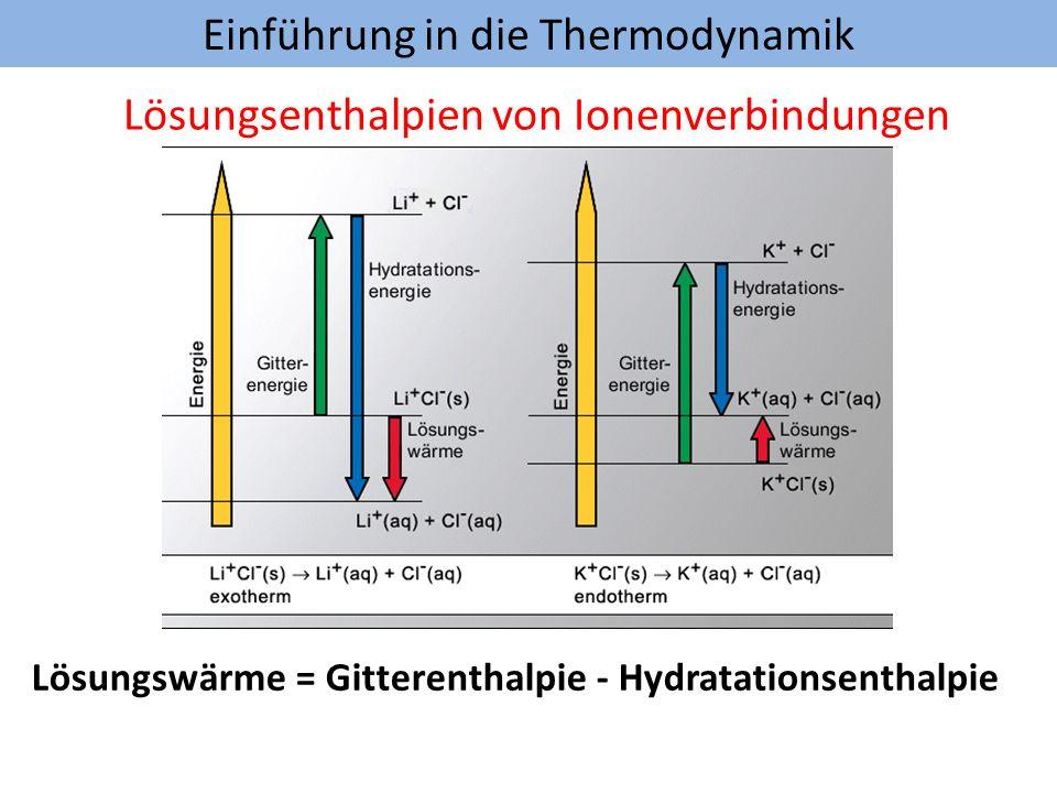 Einführung in die Thermodynamik Lösungsenthalpien von Ionenverbindungen Lösungswärme = Gitterenthalpie - Hydratationsenthalpie