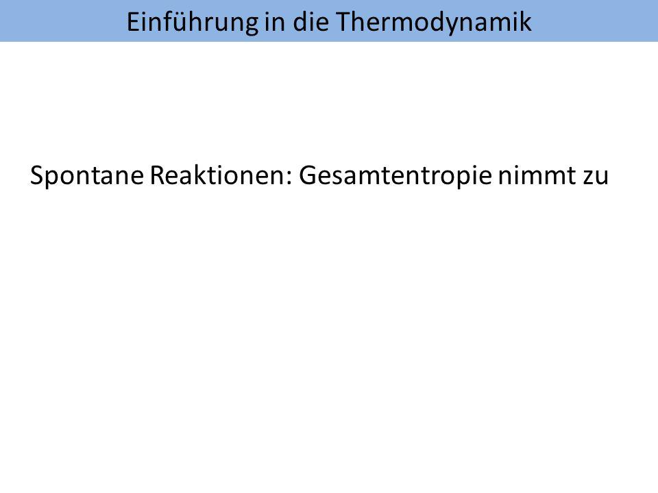 Einführung in die Thermodynamik Spontane Reaktionen: Gesamtentropie nimmt zu