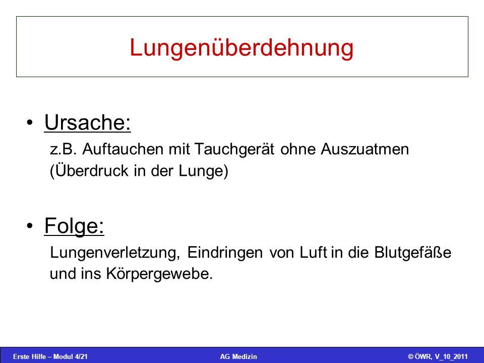 Erste Hilfe – Modul 4/21© ÖWR, V_10_2011AG Medizin Lungenüberdehnung Ursache: z.B.
