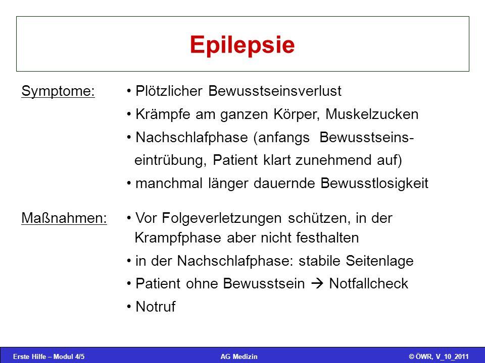 Erste Hilfe – Modul 4/16© ÖWR, V_10_2011AG Medizin Ertrinken 5.