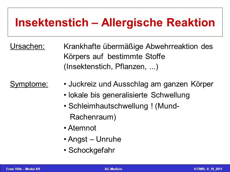 Erste Hilfe – Modul 4/20© ÖWR, V_10_2011AG Medizin Tauchunfälle